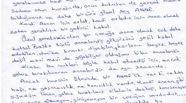 ZİÇEV Samsun şubemizden Başkanımıza duygulandırıcı Anneler Günü mektubu